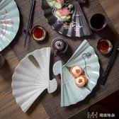 日式和風餐具壽司盤子 手繪特色餐廳陶瓷扇形盤菜盤刺身盤        瑪奇哈朵