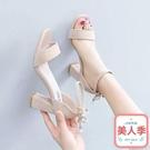 中跟涼鞋一字扣帶涼鞋女粗跟夏季新款中跟羅馬百搭黑色仙女風高跟女鞋