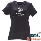 Wildland 荒野 0A71637-54黑色 女彈性印花經典抗UV上衣 POLO領/涼爽散熱/吸濕快乾/登山/運動休閒
