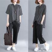 洋氣中大尺碼 女裝夏季微胖mm韓版套裝顯瘦時尚休閒減齡條紋襯衫兩件套