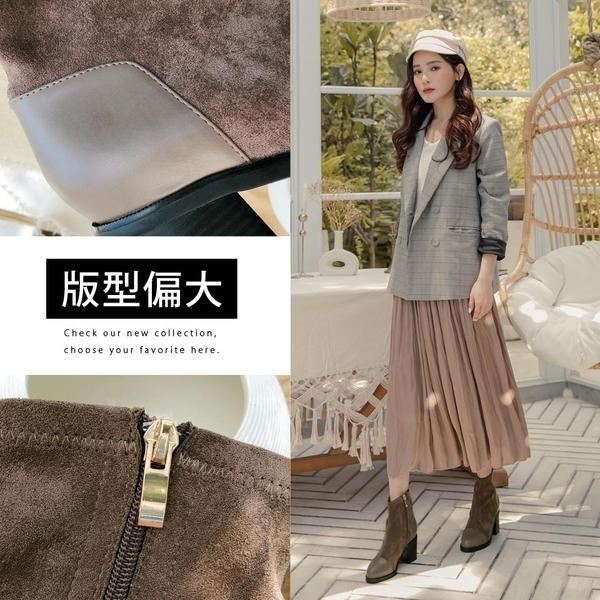 Ann'S異材質皮革拼接防水絨布粗跟短靴-咖啡