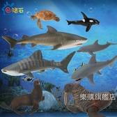 動物模型海洋動物模型海豹海龜海獅海豚鯊魚鯨魚塑料靜態模型情感益智玩具