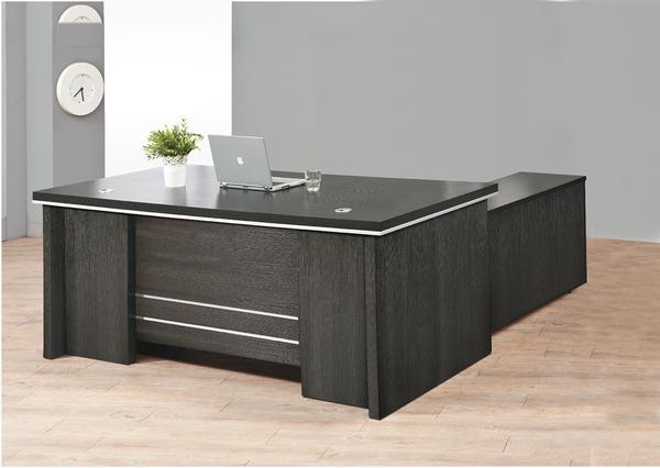 【IS空間美學】6.5尺黑浮雕主管桌整組(L型/YO-108)(恕不拆賣)