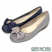 U33-2281A 女款小坡跟娃娃鞋 緞面蝴蝶結金屬水鑽全真皮小坡跟娃娃鞋【GREEN PHOENIX】