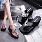 涼拖鞋女外穿2020夏季新款坡跟厚底女拖鞋超高跟休閒人字拖涼拖鞋 LF3381『黑色妹妹』
