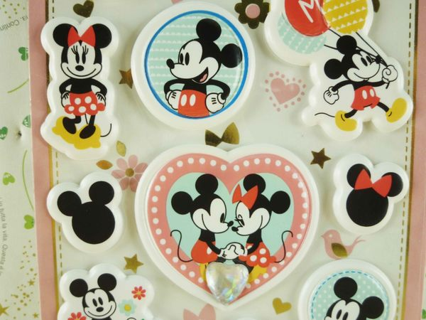 【震撼精品百貨】Micky Mouse_米奇/米妮 ~貼紙-愛心粉鑽