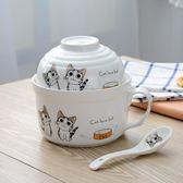 食堂陶瓷泡面碗帶蓋泡面杯湯碗帶手柄大號學生飯盒餐具送勺筷