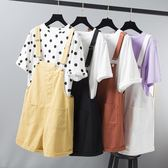 夏季新款韓版寬鬆大碼學生ins減齡吊帶褲高腰牛仔背帶短褲女熱褲 ciyo黛雅