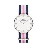 【Daniel Wellington】CLASSIC瑞典時尚品牌經典簡約尼龍腕錶-白粉藍x銀-36mm/DW00100050/原廠公司貨兩年保固