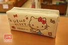 Hello Kitty 凱蒂貓 雙拉鍊布筆袋 白 970853