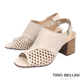 Tino Bellini巴西進口摩登網狀魚口高跟涼鞋_ 杏 A73013 歐洲進口款