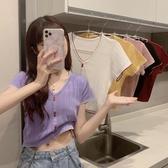 夏季2020年新款洋氣紫色冰絲短袖針織衫女學生薄款外搭短款bm上衣