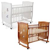 L.A. Baby 加州貝比 芝加哥嬰兒大床/搖擺床/童床/木床/嬰兒床-咖啡色/白色(不附床墊)