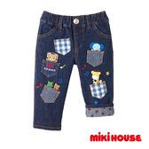 MIKI HOUSE 普奇熊刺繡豪華牛仔褲(靛藍)