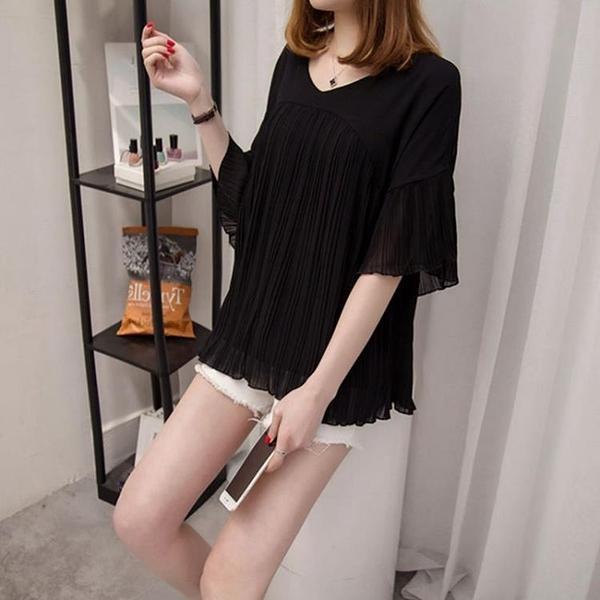 雪紡T恤打底衫女2021夏季韓版加大碼胖mm寬鬆顯瘦200斤遮肚子上衣 3C數位百貨
