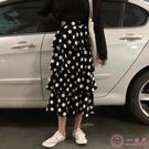 半身裙波點蛋糕裙很仙的法國小眾中長款裙子顯瘦高腰多層次半身裙女春秋
