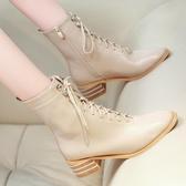 尖頭靴 2020歐美秋冬新款馬丁靴潮女短靴網紅粗跟高跟鞋百搭絨面尖頭女靴 阿卡娜