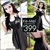 克妹Ke-Mei【ZT50310】泰國潮牌 立體貓咪雙槓美背肩帶收腰傘擺雪紡洋裝