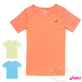 ASICS亞瑟士 女慢跑V領T恤(橘) 反光機能設計