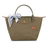 Longchamp 1621 LE PLIAGE 奔馬刺繡短提把小型尼龍摺疊水餃包(橄欖綠-含帕巾)480206-A23
