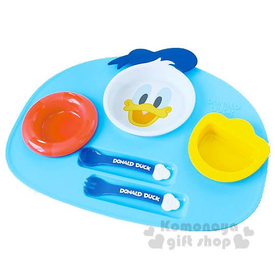 〔小禮堂〕唐老鴨 日製塑膠餐具組《藍.大臉》6件組合4904121-30705
