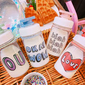 水杯  夏季創意夏日小清新可手提字母印花玻璃杯簡約學生便攜式隨手水杯