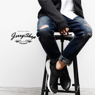 牛仔長褲 JerryShop  藍色經典割破刷色彈力牛仔褲  潮流 直筒褲 韓版刷破【XX00818】