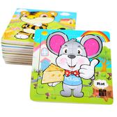 (交換禮物)12生肖木制質拼圖 2-3-4歲寶寶兒童16片 木拼圖動物益智玩具套裝 雙12鉅惠