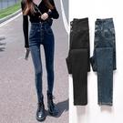 高腰牛仔褲女秋季潮修身顯瘦顯高正韓深色彈力緊身小腳-Milano米蘭