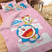 【享夢城堡】哆啦A夢 天空漫遊系列-精梳棉單人床包涼被組(粉)