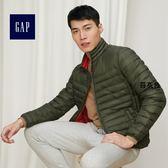 Gap男裝 簡約純色舒適長袖鋪棉外套 308609-苔灰色