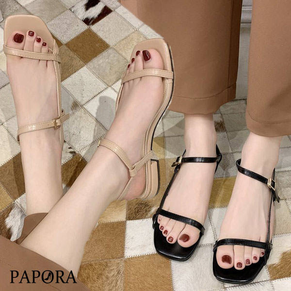 PAPORA側邊修式細帶一字帶涼鞋KK6168黑色 / 杏色