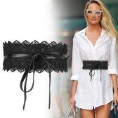 女士綁帶系帶腰封時尚百搭蕾絲裝飾連衣裙腰帶配飾黑白 WE2058『優童屋』