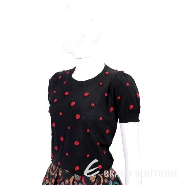 MARELLA 小紅毛球黑色澎澎袖針織羊毛衫 1810272-01