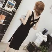 針織吊帶洋裝女中長款過膝打底背心小黑裙子年春季新款女裝 極有家