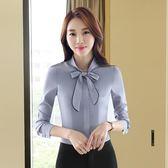職業襯衫女長袖春裝新款雪紡白色襯衣時尚蝴蝶結工衣韓版村衫