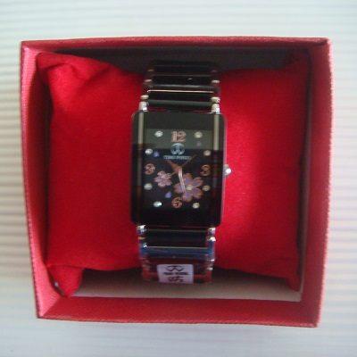 櫻花繽紛鑲鑽方形鏡面日本機芯防水陶瓷淑女錶(黑色)/腕錶/手錶(贈錶盒)
