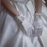 新娘婚紗手套蕾絲白色蝴蝶結結婚手套 全館免運