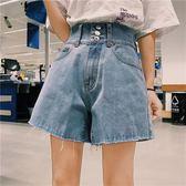 黑五好物節春夏韓版高腰寬鬆休閒百搭闊腿褲短褲毛邊牛仔褲短褲顯瘦女