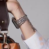適用applewatch錶帶創意iwatch蘋果手表表帶時尚鏈式帶鉆