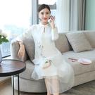 旗袍洋裝 2020民族風盤扣茶服連身裙中式禪服中國風長裙