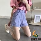 紫色高腰牛仔短褲女夏季寬鬆a字熱褲【創世紀生活館】