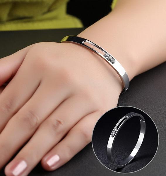 《 QBOX 》FASHION 飾品【B130N861】精緻秀氣鑲鑽許願流星316L鈦鋼對鍊/手環(玫瑰金/銀色)