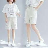 破洞牛仔短褲女裝新品 新款 大尺碼 學生百搭顯瘦闊腿五分褲 聖誕裝飾8折