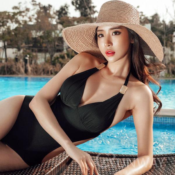 歐風金屬裝飾 黑色 低胸露腰連身泳裝 綁脖 性感顯瘦 比基尼 無鋼圈泳衣