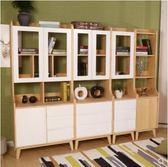書櫃 書架 收納 實木書櫃白色兒童組合創意客廳帶門收納儲物多層北歐簡約式落地架 Igo 全館免運