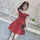 春裝新款女名媛氣質一字領露肩高腰修身連衣裙A字裙禮服裙女 年終尾牙交換禮物