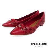 Tino Bellini 巴西進口雷射雕花佐優雅蝴蝶結低跟包鞋 _ 紅 TF8512 歐洲進口款