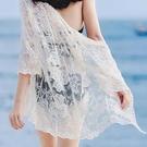 防曬服 防曬衣女中長款2021夏季旅游度假網紗開衫半袖空調衫蕾絲外搭寬鬆