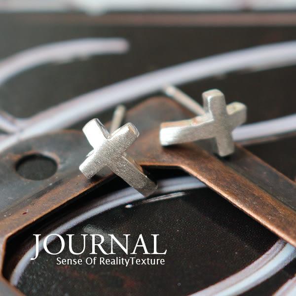 925純銀 厚實磨砂十字 針式耳環_質物日誌Journal